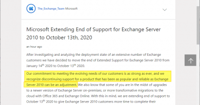 Microsoft extends Exchange Server 2010 End of Support with a surprising remark