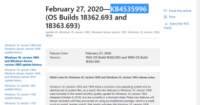 Microsoft releases KB4535996 for Windows 10 version 1903 and 1909