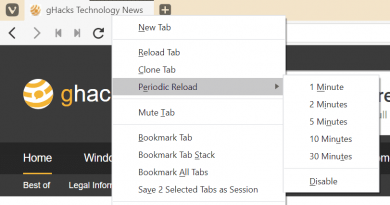 Latest Vivaldi gets option to reload tabs periodically