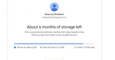 How to check the amount of 15GB Google storage you've exhausted