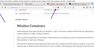 Load new tabs in the same container as the first one with the Sticky Window Containers extension for Firefox